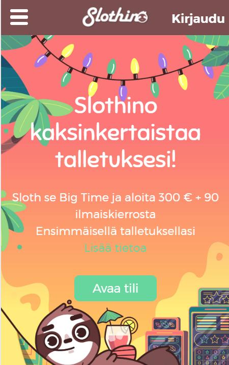 Slothino etusivu toukokuu 2021 mobile